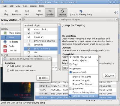 toolbar button, context menu item, about dialog, configure dialog